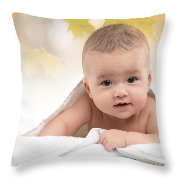 Cute Four Month Old Baby Boy Throw Pillow by Oleksiy Maksymenko