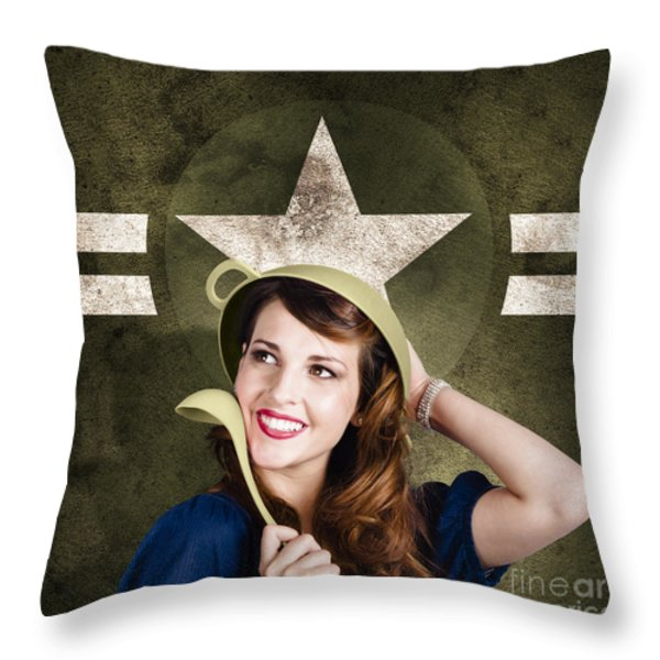 Cute military pin-up woman on army star background Throw Pillow by Ryan Jorgensen