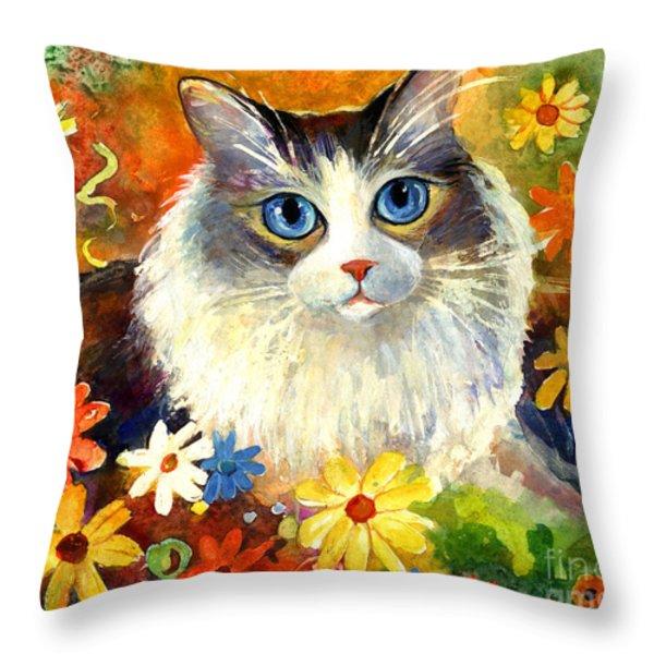 Cute Ragdoll Tubby Cat In Flowers Throw Pillow by Svetlana Novikova