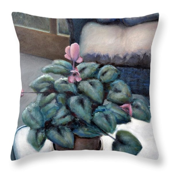 Cyclamen And Wicker Throw Pillow by Michelle Calkins