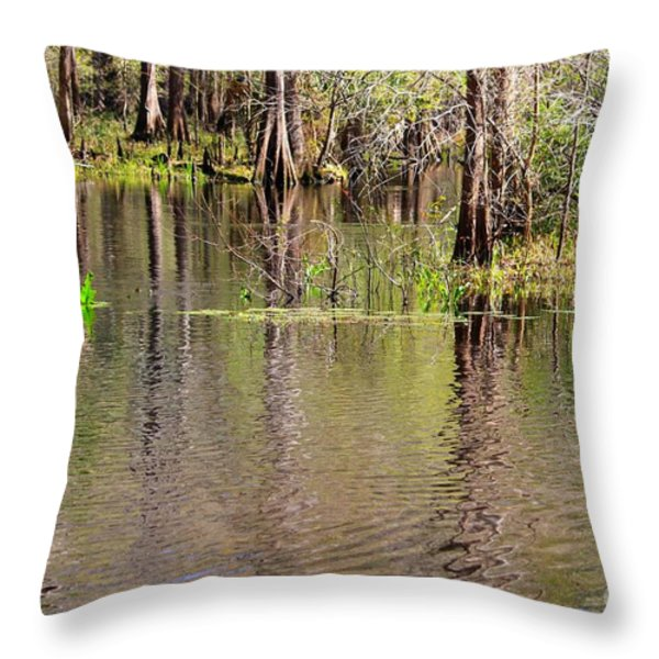 Cypresses Reflection Throw Pillow by Carol Groenen