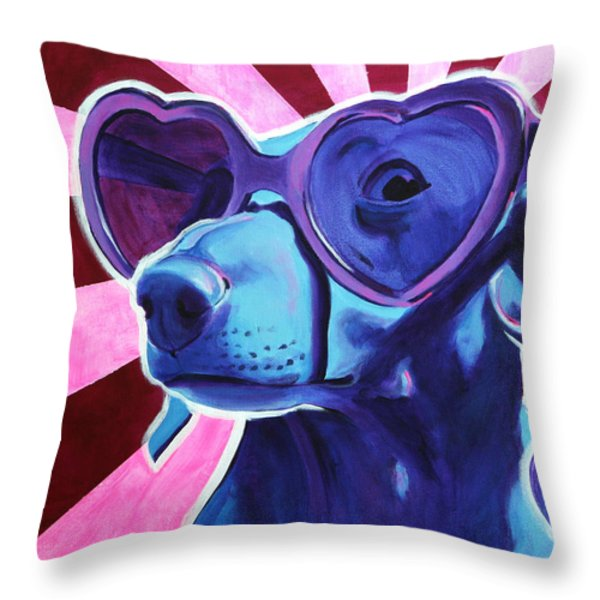 Dachshund - Puppy Love Throw Pillow by Alicia VanNoy Call