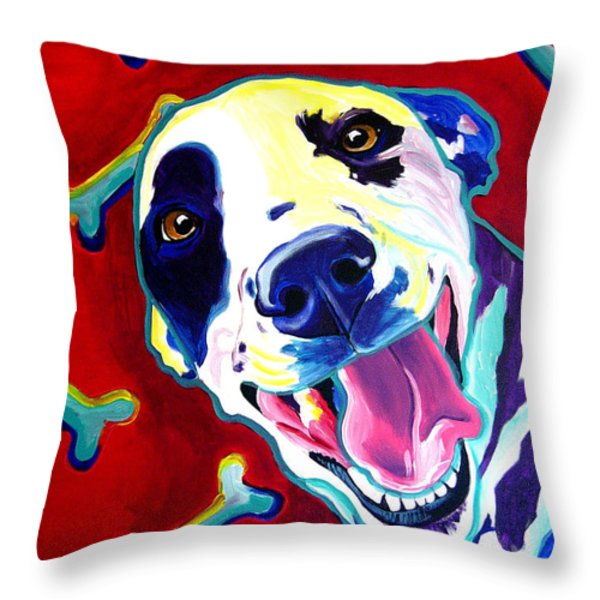 Dalmatian - Yum Throw Pillow by Alicia VanNoy Call