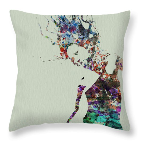 Dancer Watercolor Splash Throw Pillow by Naxart Studio