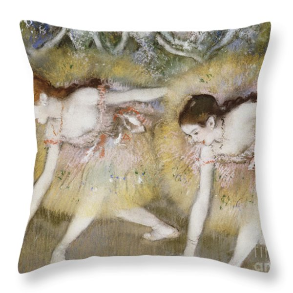 Dancers Bending Down Throw Pillow by Edgar Degas