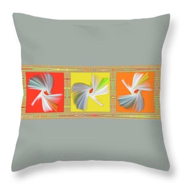 Dancing Flower Trio Throw Pillow by Ben and Raisa Gertsberg