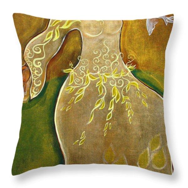 Dancing Her Prayers Throw Pillow by Shiloh Sophia McCloud
