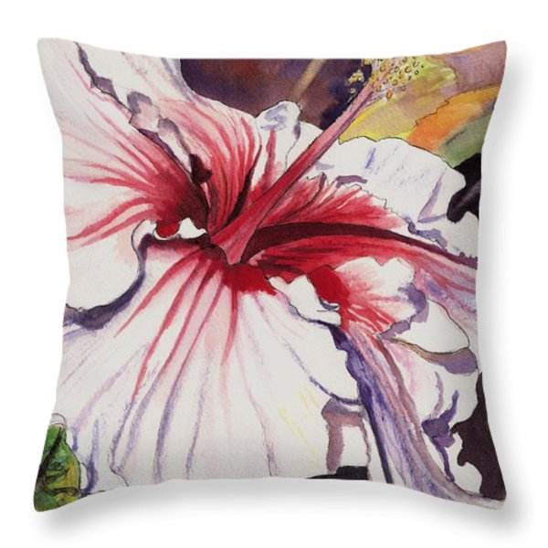 Dancing Hibiscus Throw Pillow by Marionette Taboniar