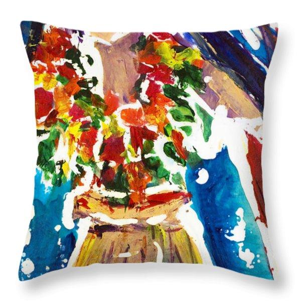 Dancing Hula Throw Pillow by Julie Kerns Schaper - Printscapes