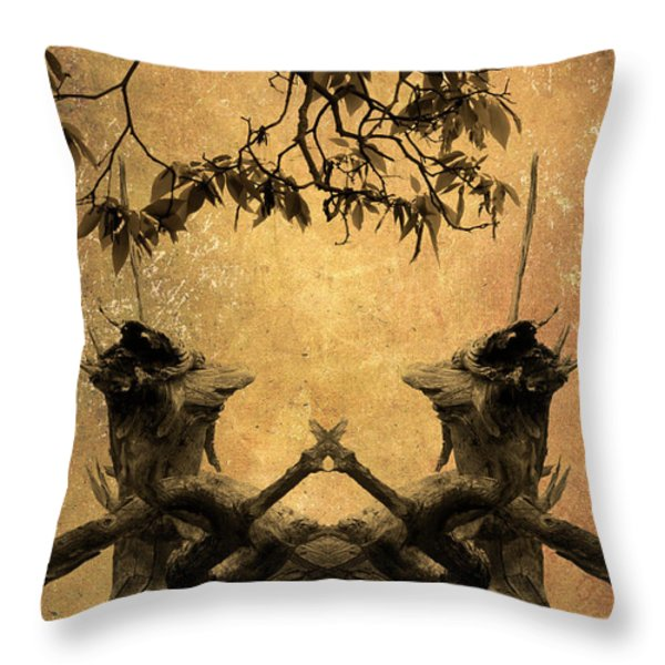 Dancing Trees Throw Pillow by Dave Gordon
