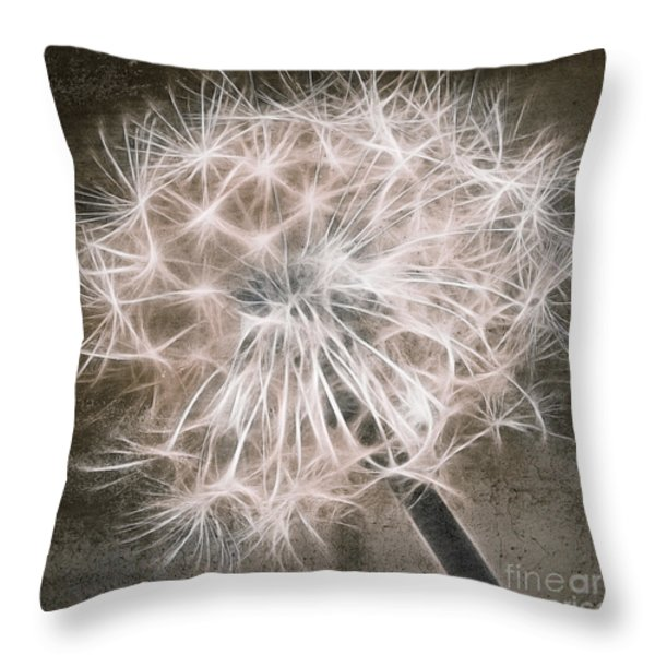 Dandelion in Brown Throw Pillow by Aimelle