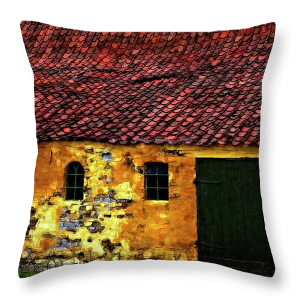 Danish Barn watercolor version Throw Pillow by Steve Harrington