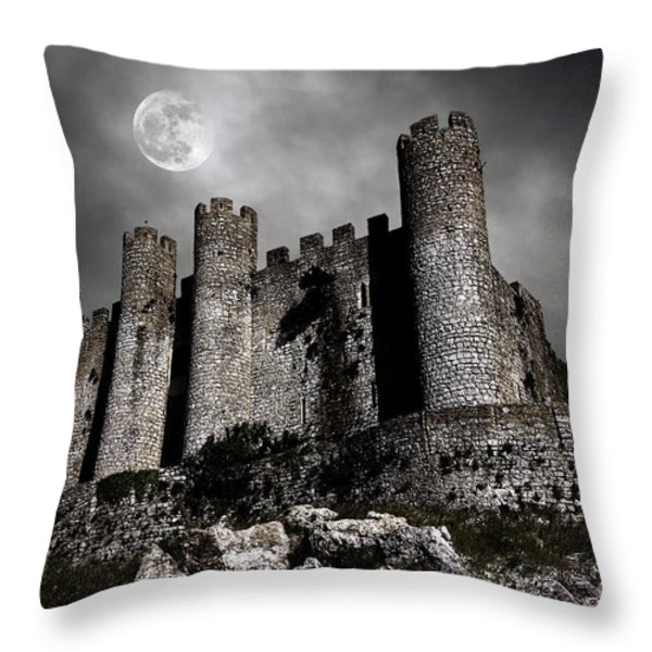 Dark Castle Throw Pillow by Carlos Caetano