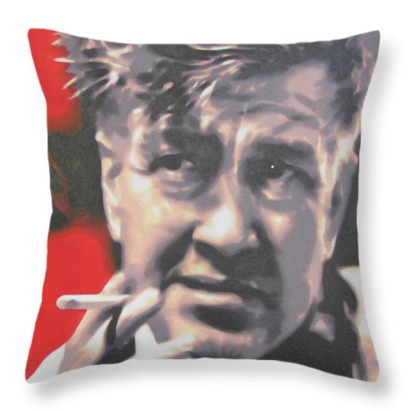 David Lynch Throw Pillow by Luis Ludzska