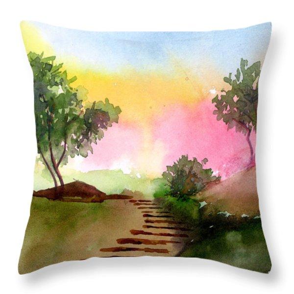 Dawn Throw Pillow by Anil Nene