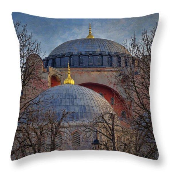 Dawn over Hagia Sophia Throw Pillow by Joan Carroll