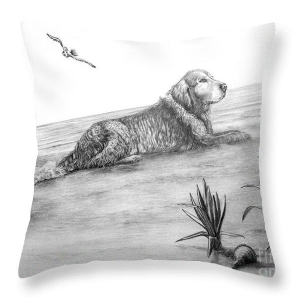 Day At The Beach Throw Pillow by Murphy Elliott