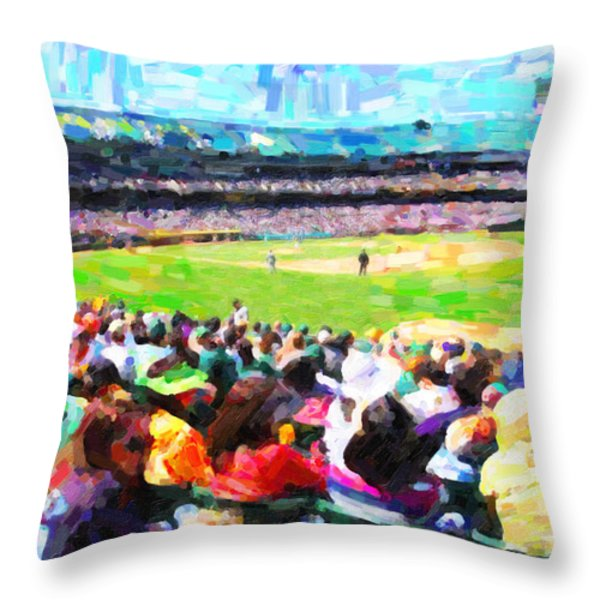 Day Game At The Old Ballpark Throw Pillow by Wingsdomain Art and Photography