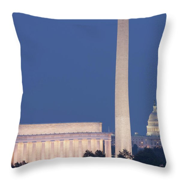 Dc Landmarks At Twilight Throw Pillow by Clarence Holmes