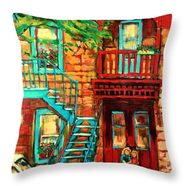 De Bullion Street Girls Throw Pillow by Carole Spandau
