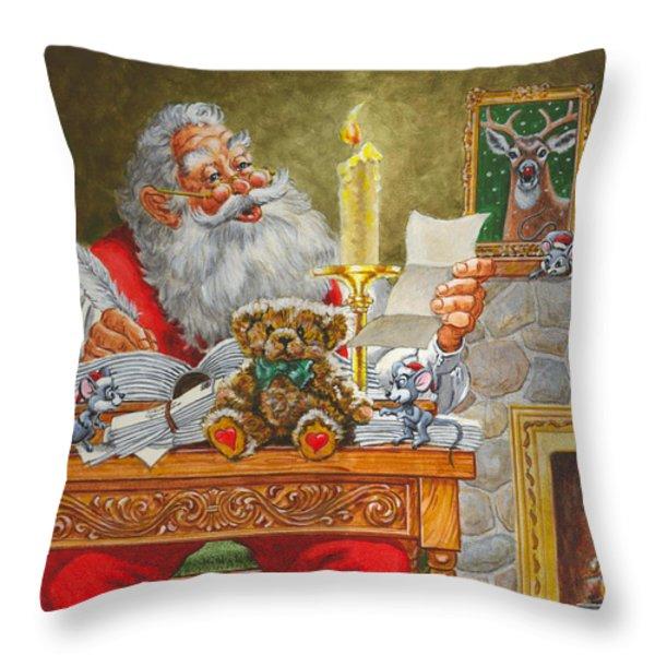 Dear Santa Throw Pillow by Richard De Wolfe