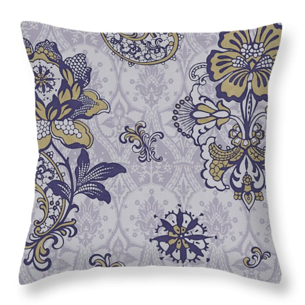Deco Flower Blue Throw Pillow by JQ Licensing