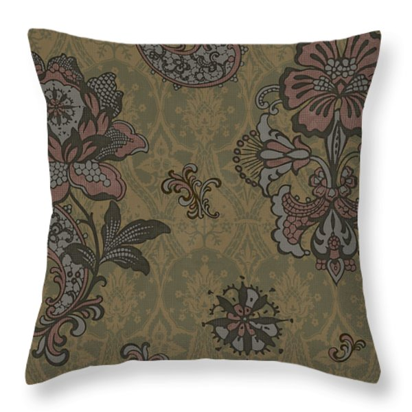 Deco Flower Brown Throw Pillow by JQ Licensing