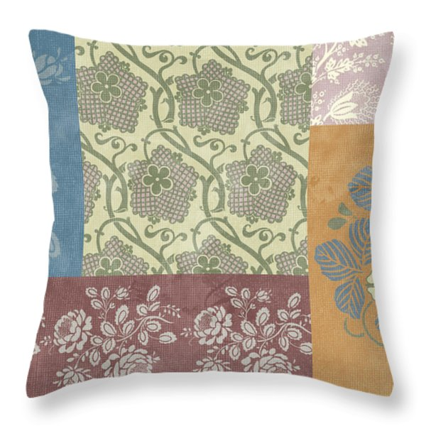 Deco Flower Patchwork 2 Throw Pillow by JQ Licensing