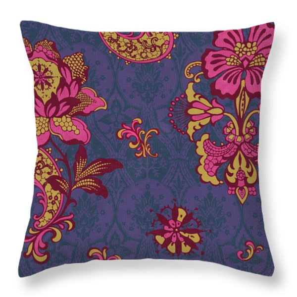 Deco Flower Purple Throw Pillow by JQ Licensing