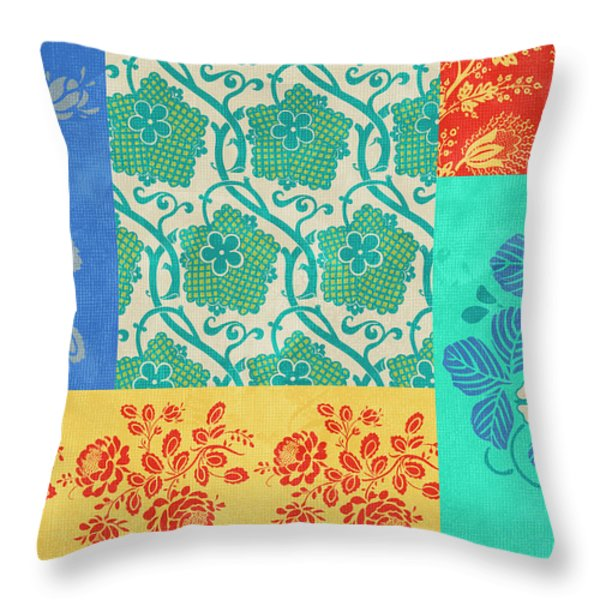 Deco Flowers Throw Pillow by JQ Licensing