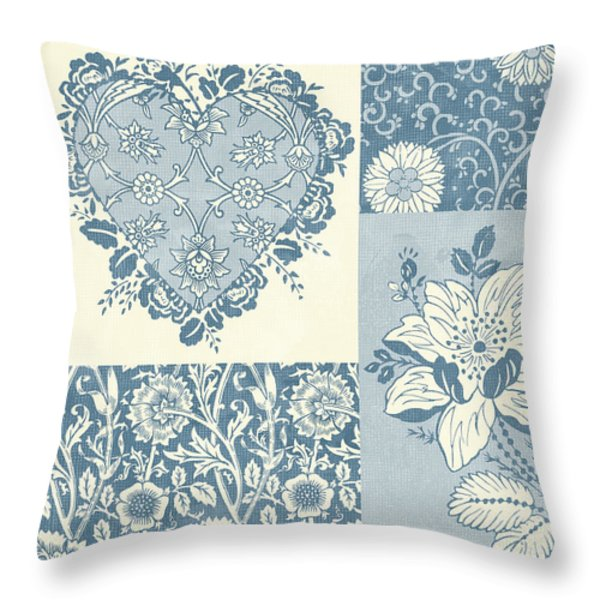 Deco Heart Blue Throw Pillow by JQ Licensing