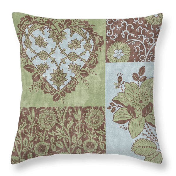 Deco Heart Sage Throw Pillow by JQ Licensing