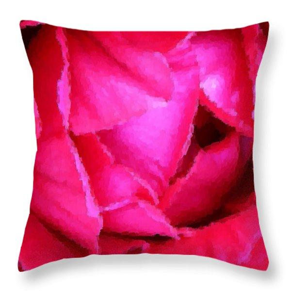 Deep Inside the Rose Throw Pillow by Kristin Elmquist