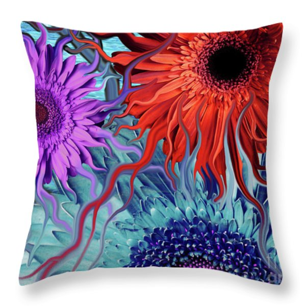 Deep Water Daisy Dance Throw Pillow by Christopher Beikmann