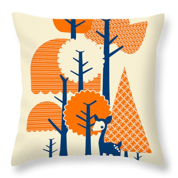 Deer Forester Throw Pillow by Budi Satria Kwan