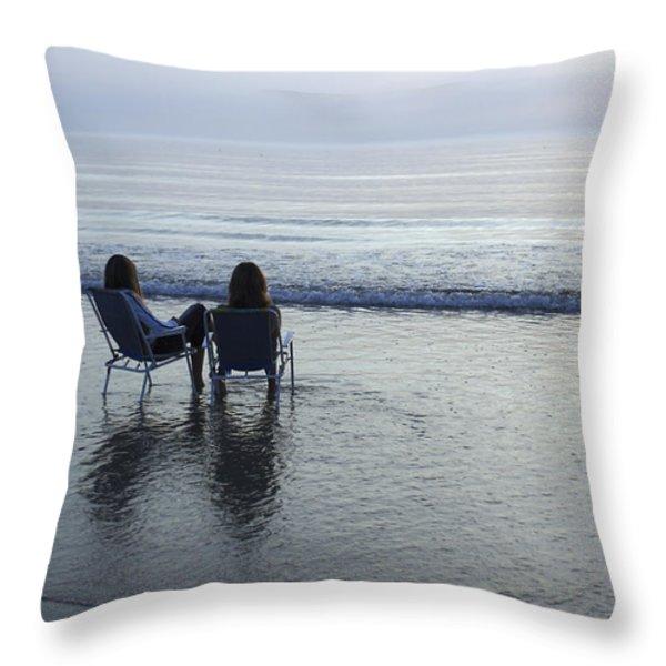 Denmark, Romo, Two Young Women Relaxing Throw Pillow by Keenpress