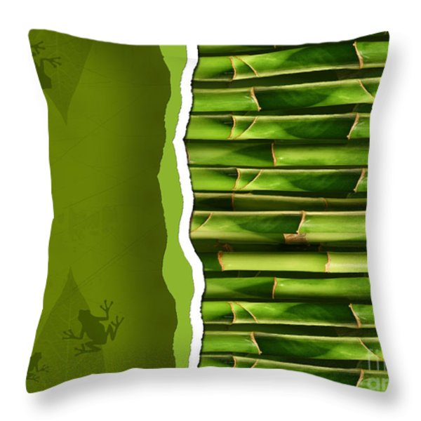 Dense Bamboo Stalk With Copyspace Throw Pillow by Sandra Cunningham