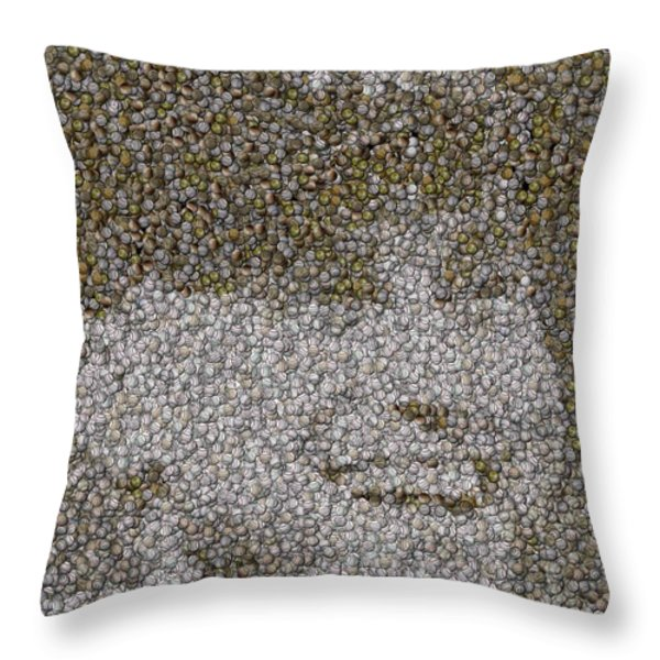 Derek Jeter Baseballs Mosaic Throw Pillow by Paul Van Scott