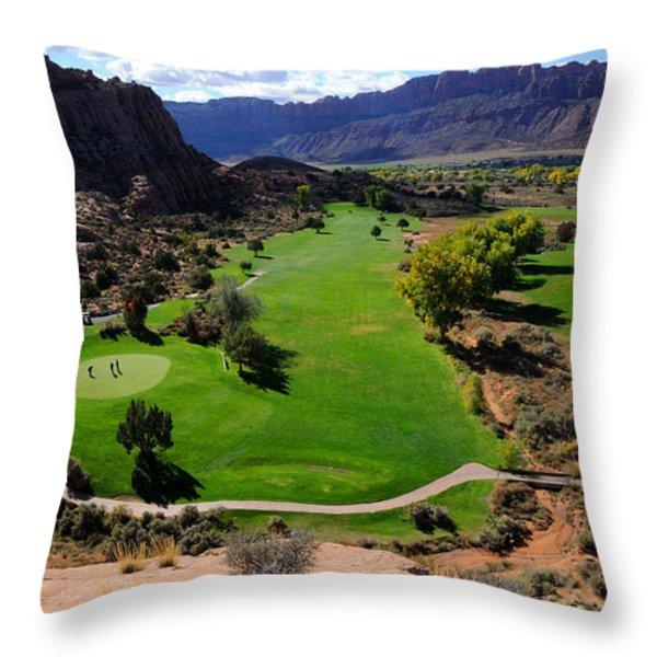 Desert Canyon Golf Course Throw Pillow by Gary Whitton