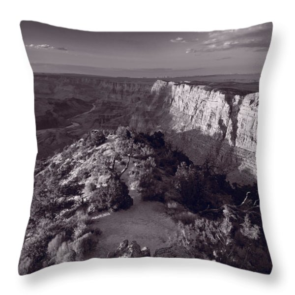 Desert View At Grand Canyon Arizona Bw Throw Pillow by Steve Gadomski