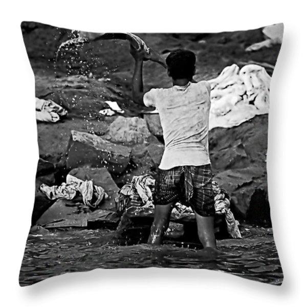 Dhobi Wallah Bw Throw Pillow by Steve Harrington