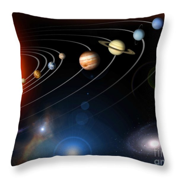 Digitally Generated Image Of Our Solar Throw Pillow by Stocktrek Images