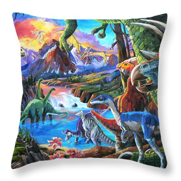 Dinosaur Throw Pillow by Nadi Spencer