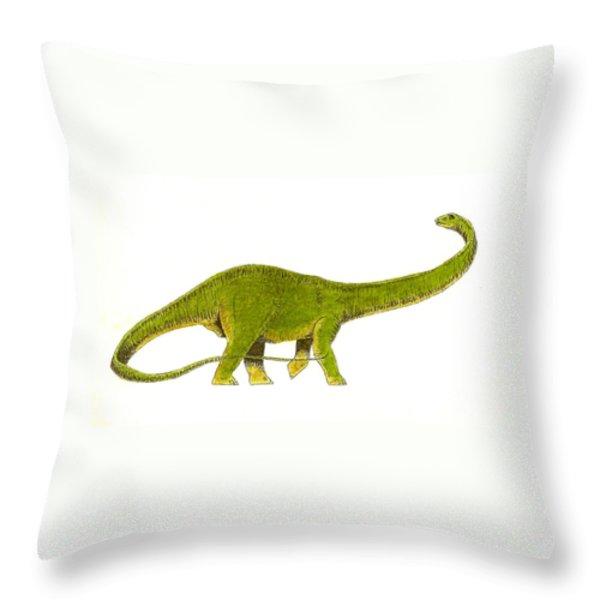 Diplodocus Throw Pillow by Michael Vigliotti