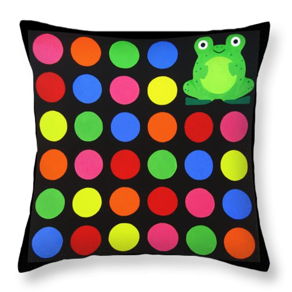 Discofrog Throw Pillow by Oliver Johnston