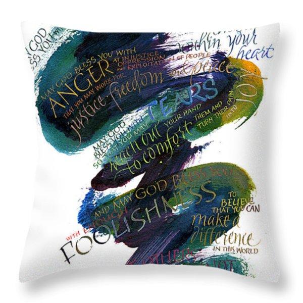 Discomfort Blue Throw Pillow by Judy Dodds