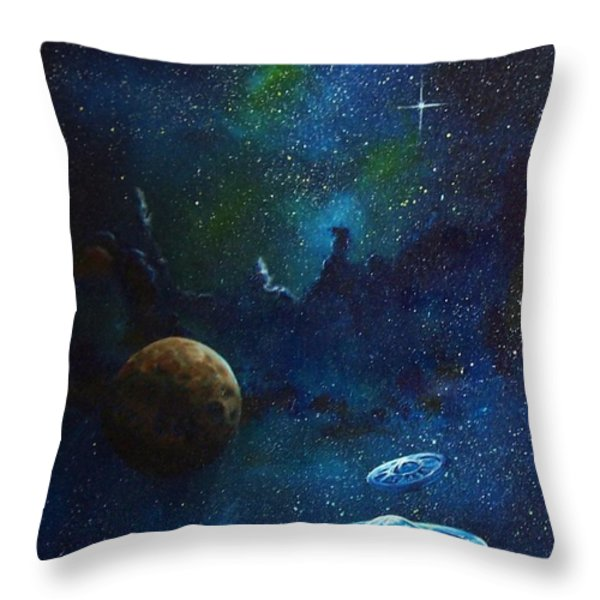 Distant Nebula Throw Pillow by Murphy Elliott