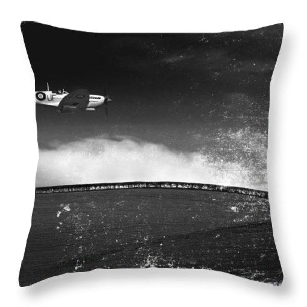 distressed spitfire Throw Pillow by Meirion Matthias