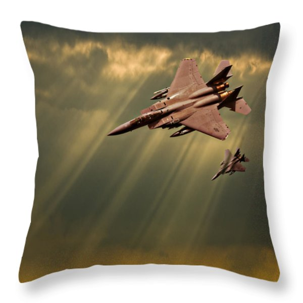 Diving Eagles Throw Pillow by Meirion Matthias