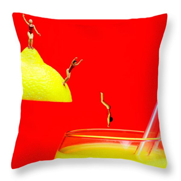 Diving Into Orange Juice Throw Pillow by Paul Ge